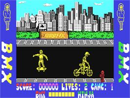 In game image of BMX Ninja on the Commodore 64.
