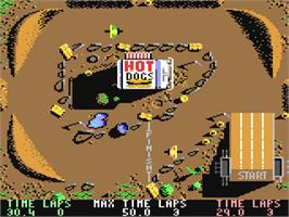 In game image of BMX Simulator on the Commodore 64.