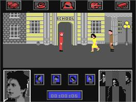 In game image of Back to the Future on the Commodore 64.