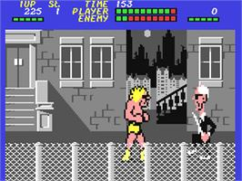 In game image of Bad Street Brawler on the Commodore 64.