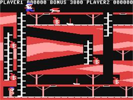 In game image of Bagitman on the Commodore 64.