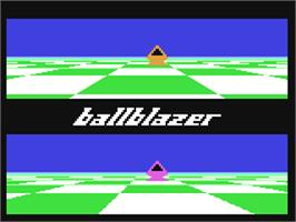 In game image of Ballblazer on the Commodore 64.