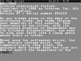 In game image of Ballyhoo on the Commodore 64.