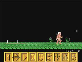 In game image of Barbarian on the Commodore 64.