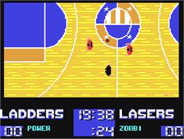 In game image of Basket Playoff on the Commodore 64.