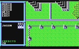 In game image of BattleTech: The Crescent Hawk's Inception on the Commodore 64.