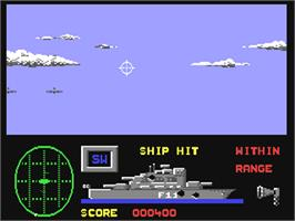 In game image of Battle Stations on the Commodore 64.