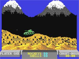In game image of Battle Valley on the Commodore 64.