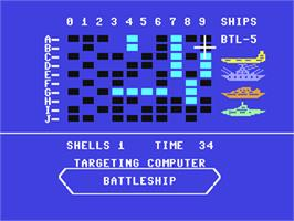 In game image of Battleship on the Commodore 64.
