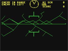 In game image of Battlezone on the Commodore 64.