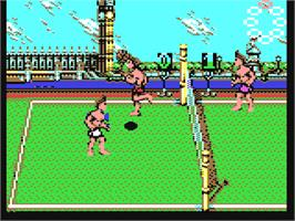 In game image of Beach Volley on the Commodore 64.