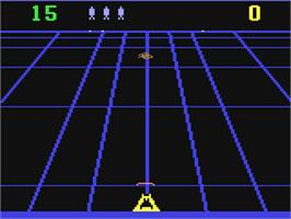 In game image of Beamrider on the Commodore 64.