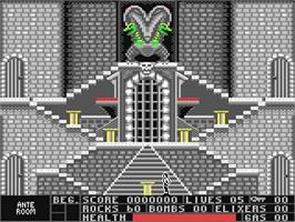In game image of Beyond Dark Castle on the Commodore 64.