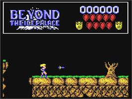 In game image of Beyond the Ice Palace on the Commodore 64.