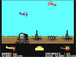 In game image of Biggles on the Commodore 64.