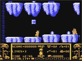 In game image of Black Tiger on the Commodore 64.