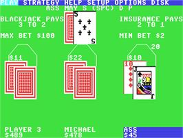 In game image of Blackjack Academy on the Commodore 64.