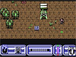 In game image of Blazing Thunder on the Commodore 64.
