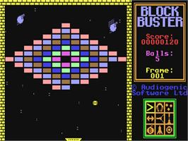 In game image of Blockbuster on the Commodore 64.