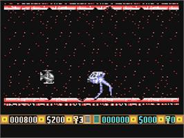 In game image of Blood Money on the Commodore 64.
