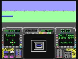 In game image of Blue Angels: Formation Flight Simulation on the Commodore 64.