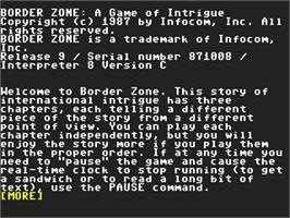 In game image of Border Zone on the Commodore 64.