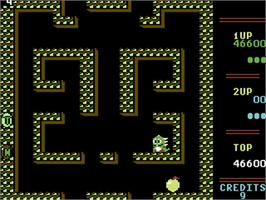 In game image of Bubble Bobble on the Commodore 64.