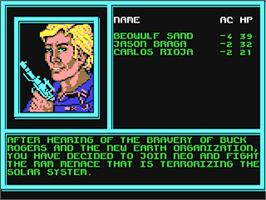 In game image of Buck Rogers: Countdown to Doomsday on the Commodore 64.