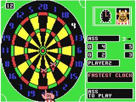 In game image of Bully's Sporting Darts on the Commodore 64.