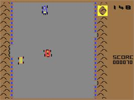 In game image of Bumping Buggies on the Commodore 64.