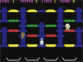 In game image of BurgerTime on the Commodore 64.