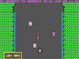 In game image of Burnin Rubber on the Commodore 64.