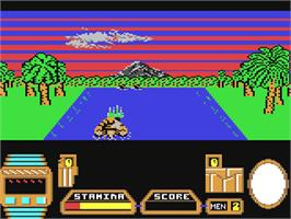 In game image of Butcher Hill on the Commodore 64.