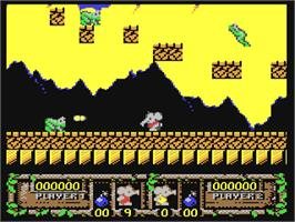 In game image of CJ's Elephant Antics on the Commodore 64.