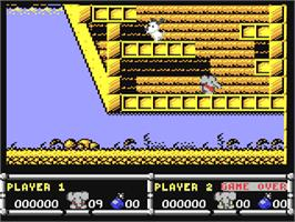 In game image of CJ In the USA on the Commodore 64.