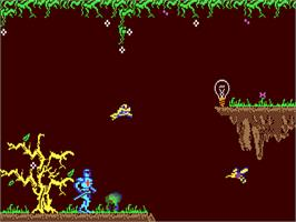 In game image of Camelot Warriors on the Commodore 64.