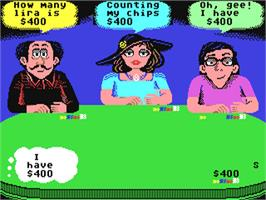 In game image of Card Sharks on the Commodore 64.