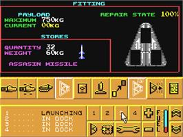 In game image of Carrier Command on the Commodore 64.