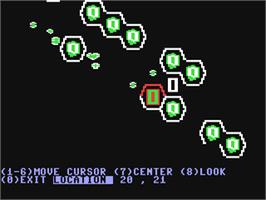 In game image of Carrier Force on the Commodore 64.