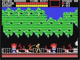In game image of Castlevania on the Commodore 64.