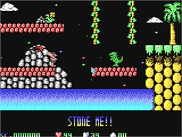 In game image of Cavemania on the Commodore 64.