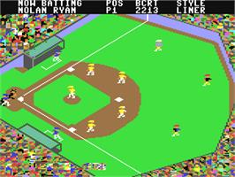 In game image of Championship Baseball on the Commodore 64.