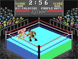 In game image of Championship Wrestling on the Commodore 64.