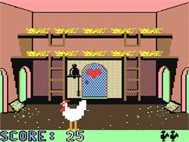 In game image of Chickin Chase on the Commodore 64.