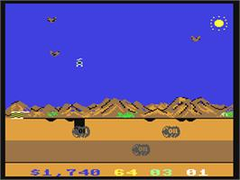In game image of Chopper Hunt on the Commodore 64.