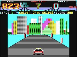 In game image of Cisco Heat: All American Police Car Race on the Commodore 64.