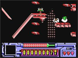 In game image of Coil Cop on the Commodore 64.