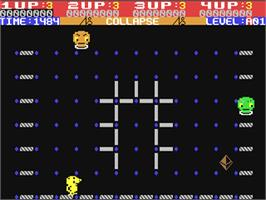 In game image of Collapse on the Commodore 64.