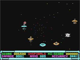 In game image of Cosmic Storm on the Commodore 64.