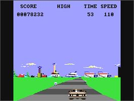 In game image of Crazy Cars on the Commodore 64.